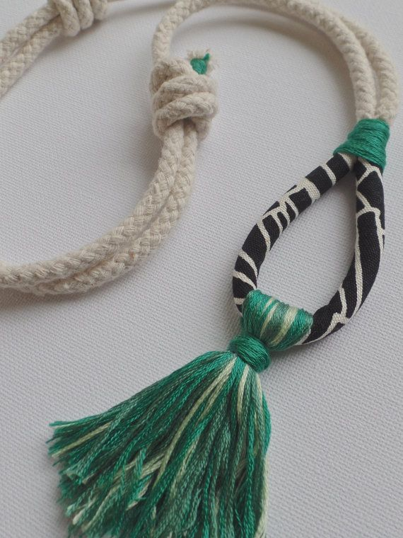 Rope Necklace with Fabric and Green Tassel by Kelaoke on Etsy