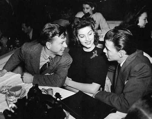 Mickey Rooney, Ava Gardner, and Frank Sinatra. It is interesting to see Ava Gardner with her husband at the time, Mickey Rooney and her later-to-be husband Frank.