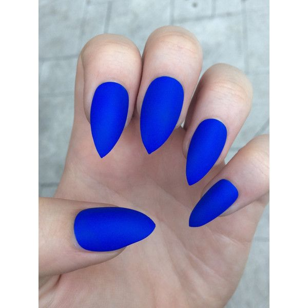 Stiletto nails, fake nails, matte nails, blue press on nails ($11) ❤ liked on Polyvore featuring beauty products, nail care and nails