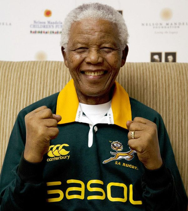 After the South African rugby team won the world cup - Amazing forgiveness, passion and love of country.