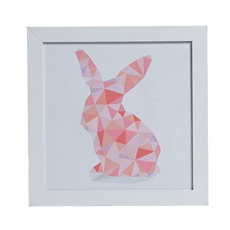 Buttons Room. Blanco Pastel Pixilated Pink Bunny Framed Art 30cm x 30cm