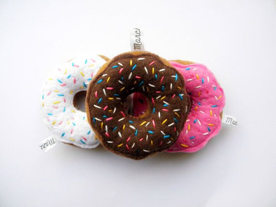 Neapolitan 3 pack felt food Donuts by Marche73 on Etsy