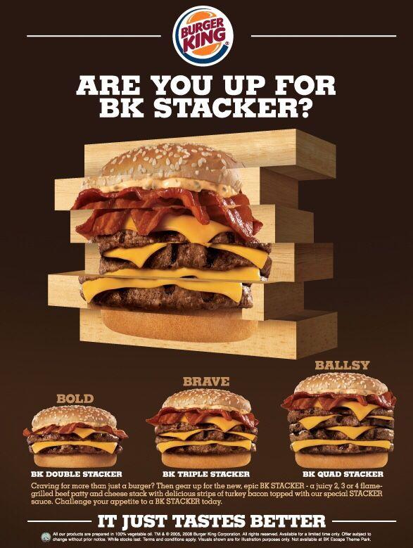 stacker burger king calories