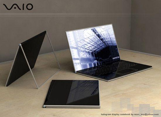 El ordenador portátil de Vaio utiliza tecnología olográfica para crear una PC que pueda ser más minimalista que la MacBook. La pantalla es totalmente transparente y el teclado opaco. AL girarla las funciones olográficas de la pantala táctil comienzan. Incluso los botones de ratón son olográficos.