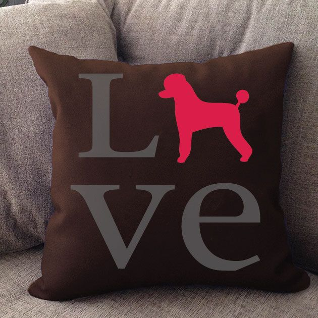 Righteous Hound Poodle Love Pillow $28.00
