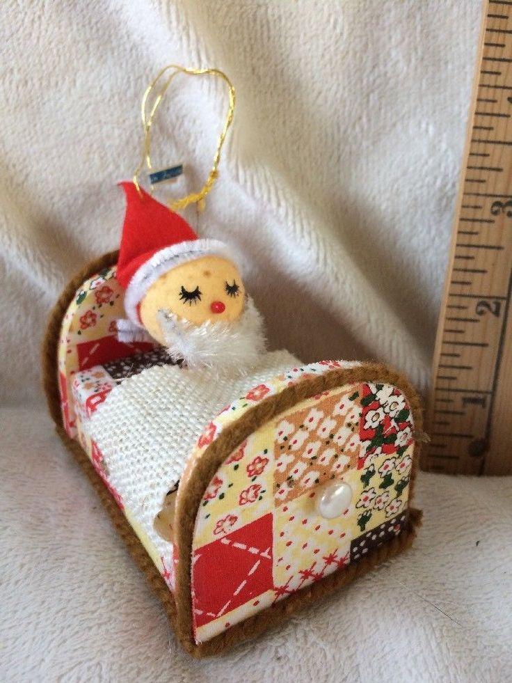 Cute Vintage Flocked Santa In Bed Ornament- Japan