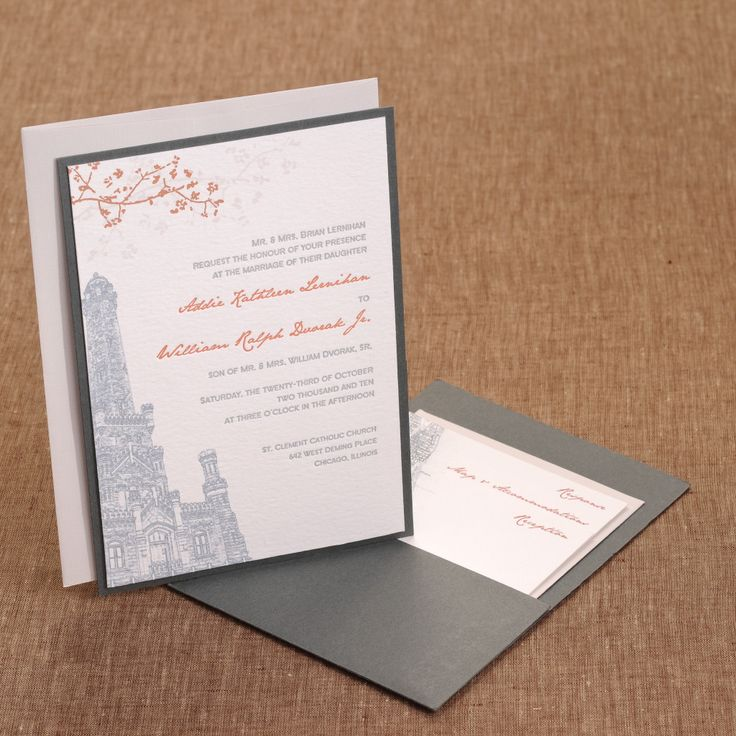 spanish wedding invitations uk%0A Spilled Ink Press   Chicago Wedding Invitations  Water Tower  autumn  themed  pocket invitation
