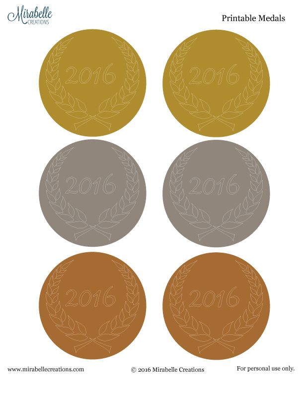 2016 Summer Olympics Free Printable Medals by Mirabelle Creations