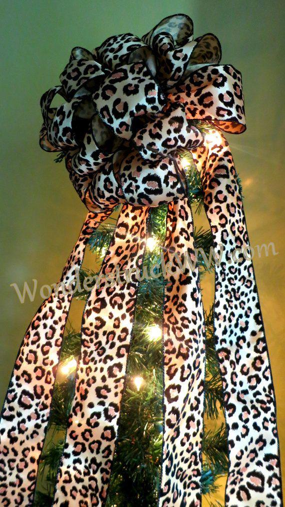Christmas Tree Topper  Leopard Print by WeddingsAndWreaths on Etsy