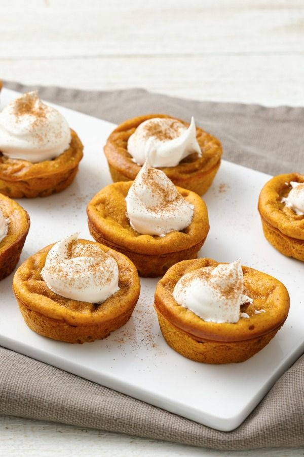 Ready in 50 minutes, these delicious mini pumpkin pies topped with whipped topping are a wonderful quick dessert!