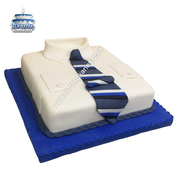 Torta Camisa, Torta para Caballeros, ideal para celebrar a papá, al esposo, al hijo, a tu novio, a tu jefe o a un amigo ;), modela la forma de una camisa de manera practica, prepara el queque en la masa de tu preferencia y sorprende!
