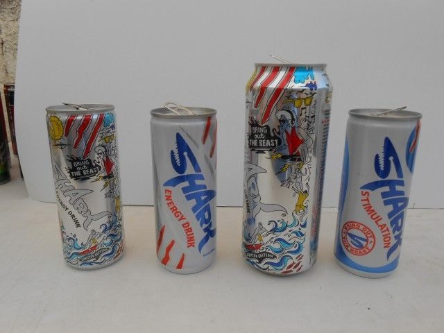 SHARK  - ENERGY DRINK -  LOT 4 DIFFERENT   EMPTY CANS - FROM CYPRUS