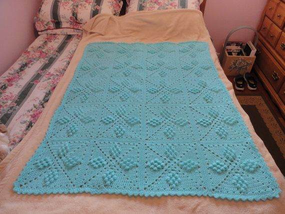 Stunning light aqua blue handmade crocheted baby blanket
