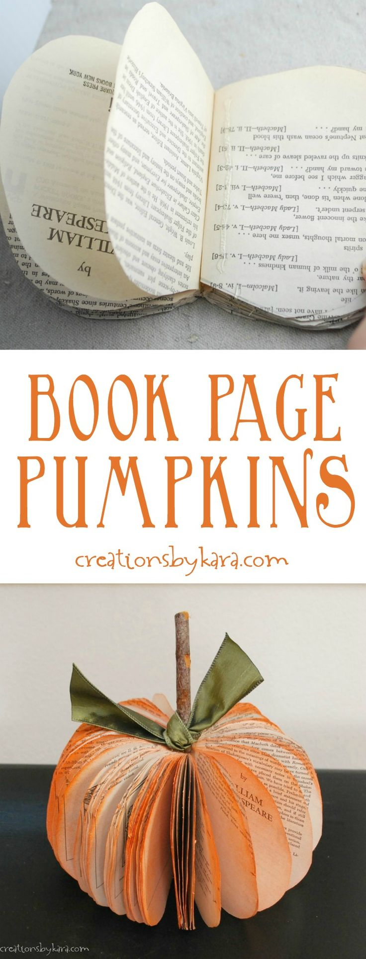 This Book Page Pumpkin is one of my most popular tutorials. Book page pumpkins are inexpensive, easy to make, and make such fun fall decor!