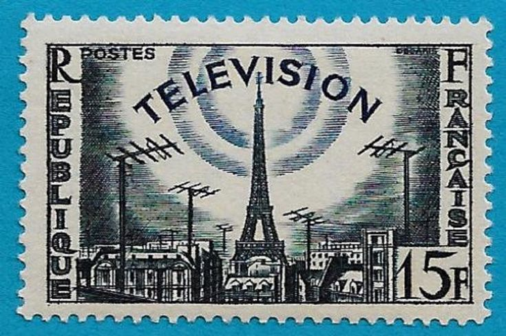 + 1955 France Television Antennas Eiffel Tower Paris #766 A257 15Fr MH unused
