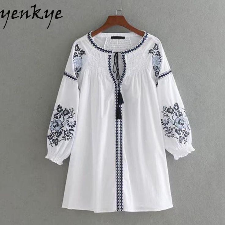 Embroidery Dress Women Lace Up O Neck Three-Quarter Sleeve Autumn White Dress Short