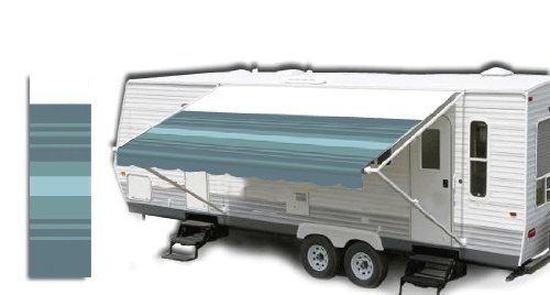 "RV Patio Awning Fabric Teal Blue Stripe 18' *(approximate fabric width 17' 2-3"")* Brand new RV Patio Awning Replacement fabric Teal Blue Stripe!. Durable 15oz vinyl with 16oz vinyl weather shield!. Fabric to measure 17' 2-3"", this is for an 18' awning.. Standard 8' projection 1/4"" poly cord for rail and 3/16"" poly cord for roller tube.. Will work with A"