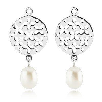 Срібні сережки, перлина культивована прісноводна