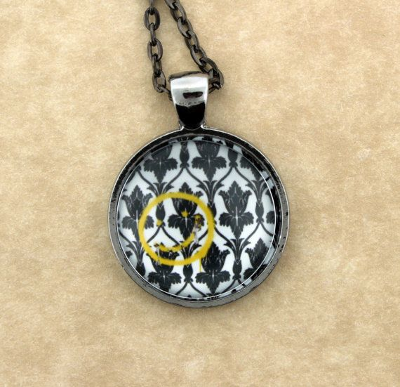 SHERLOCK BBC Bored Smiley Pendant Necklace by ConsultingFanGeeks, $12.00