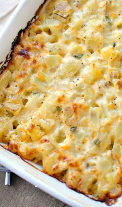 Homemade Cheesy Potatoes.. . guaranteed nothing will be left for seconds. I added an extra yellow onion and another cup of sharp cheese. Great recipe!