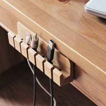 Wooden cable and charger Organizer cable management