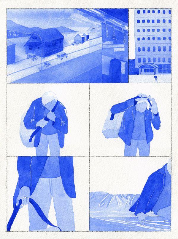 변영근 byun young geun, between winter and spring #13 (journey and smoking), 23x30.5cm, watercolor on canvas, 2015___