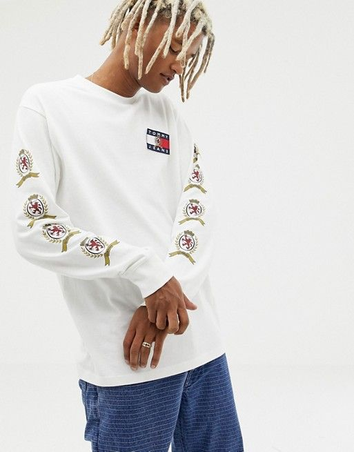 40584916 Tommy Jeans 6.0 limited capsule long sleeve top with back and sleeve crest  logo in white