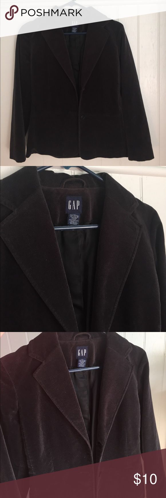 GAP black velvet blazer GAP black velvet blazer.  Two button front. Notched lapel.  Amazing with jeans for a night out.  Vented back. GAP Jackets & Coats Blazers
