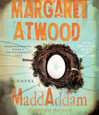 MaddAddam by Margaret Atwood (the third book of the MaddAdam trilogy, after Oryx and Crake and The Year of the Flood. Fantastic...I wish there were more, but Atwood does the perfect amount of tying up so that I don't NEED there to be another one to feel like the story is done. I want to re-listen to the whole trilogy now. It's complex enough that I'm sure there are connections and intertwining threads I've missed.) (2013)