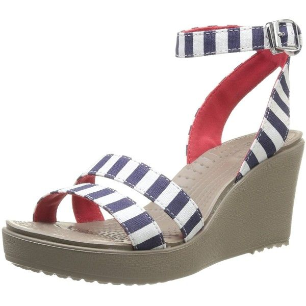 crocs Women's Leigh Graphic Wedge Sandal ($33) ❤ liked on Polyvore featuring shoes, sandals, wedges shoes, crocodile shoes, crocs shoes, wedge heel shoes and crocs footwear