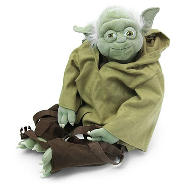 Recreate the scene in 'Empire Strikes Back' where Luke has to play jungle taxi to Yoda with this Backpack Buddies Yoda backpack. This backpack features a cotton construction and adjustable straps.