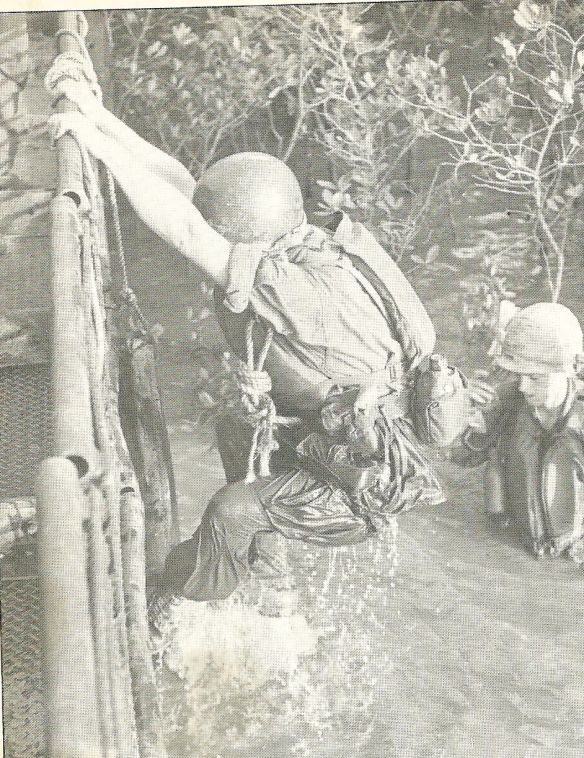A rotten stinking vocation by any standard, the grunts of the 9th U.S, Army Division were usually soaked from the rigors of their amphibious missions.  Jungle rot and fever took a high toll despite the efforts of medics who couldn't combat the everlasting pestilence of flies, lice leeches and poisonous water snakes.