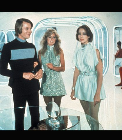 Bill Thomas' designs for Logan's Run.  Jessica's costumes definitely stood out.  I loved the colors and the delicate look to most of the designs.