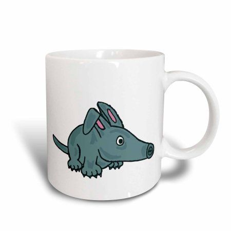 3dRose Funny Cute Blue Aardvark Cartoon , Ceramic Mug, 15-ounce