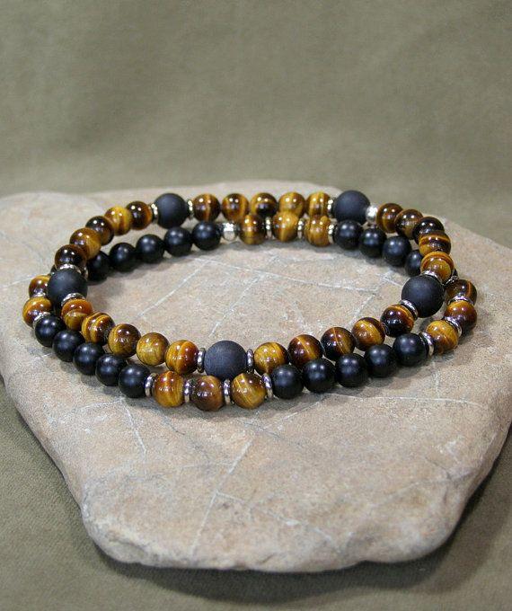 Mens Bracelet Bracelet for Men Mens Beaded by StoneWearDesigns