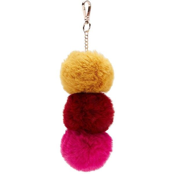 RED MULTI POM POM KEYRING ($13) ❤ liked on Polyvore featuring accessories, red key ring and pom pom key rings