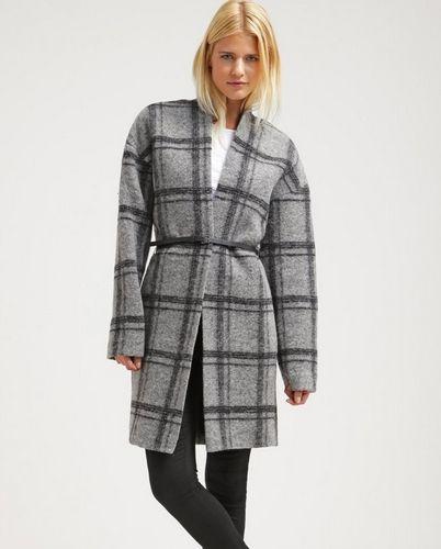 Esprit Collection Płaszcz wełniany szary w kratę klasyczny anthracite