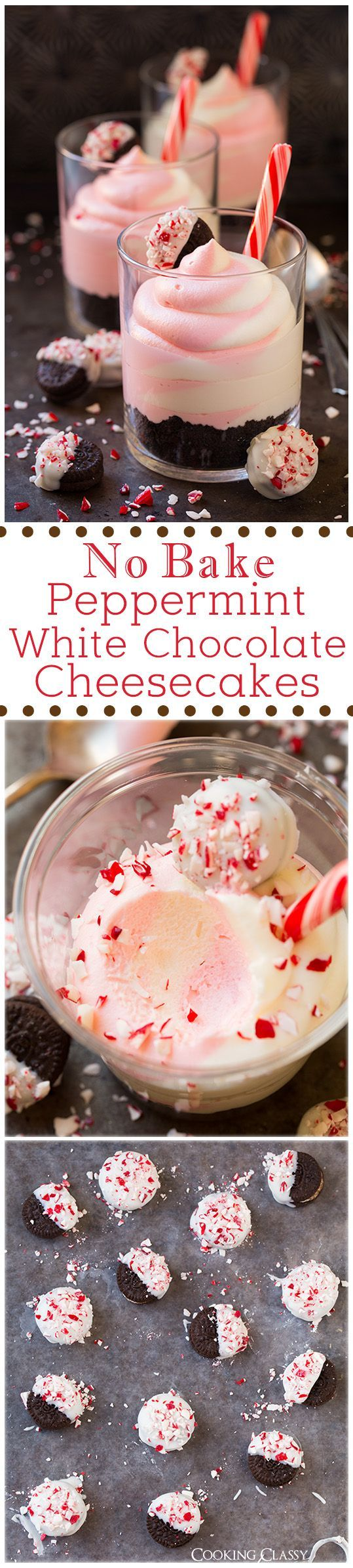 No Bake Peppermint White Chocolate Cheesecakes - these are AMAZING!! Easy to make and they have the perfect texture and flavor.