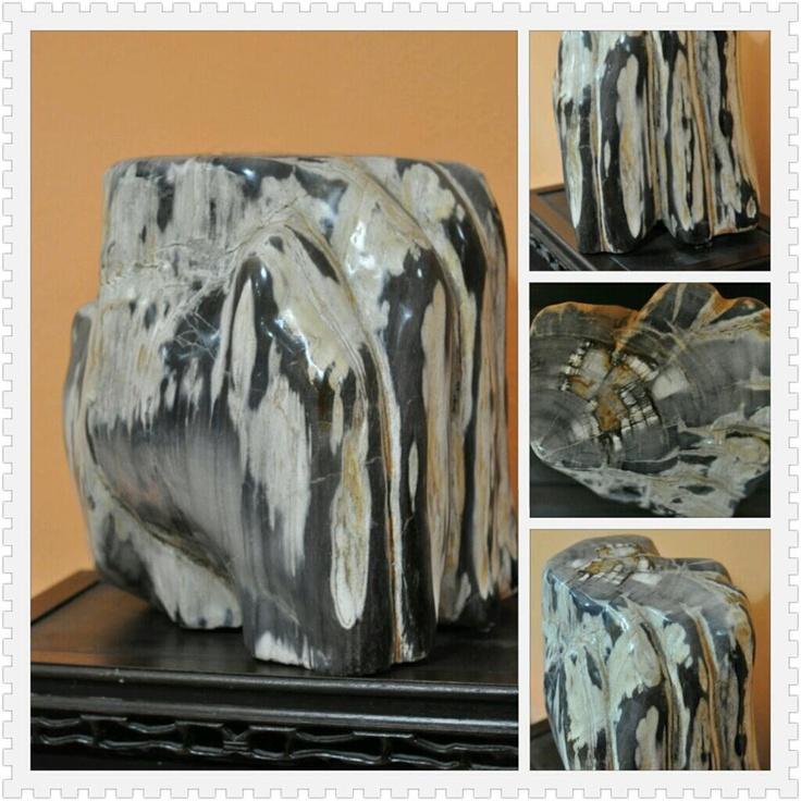 Wood Turned Rock that looks like an elephant and a palm.