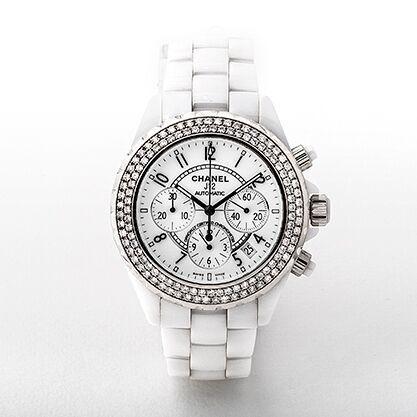 Ladies Chanel J12 Chronograph Ceramic & Diamond Watch