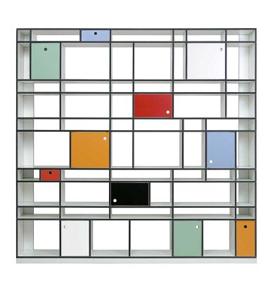 Wow. Taking things to a completely different level with Mondrian-inspired shelving and storage...