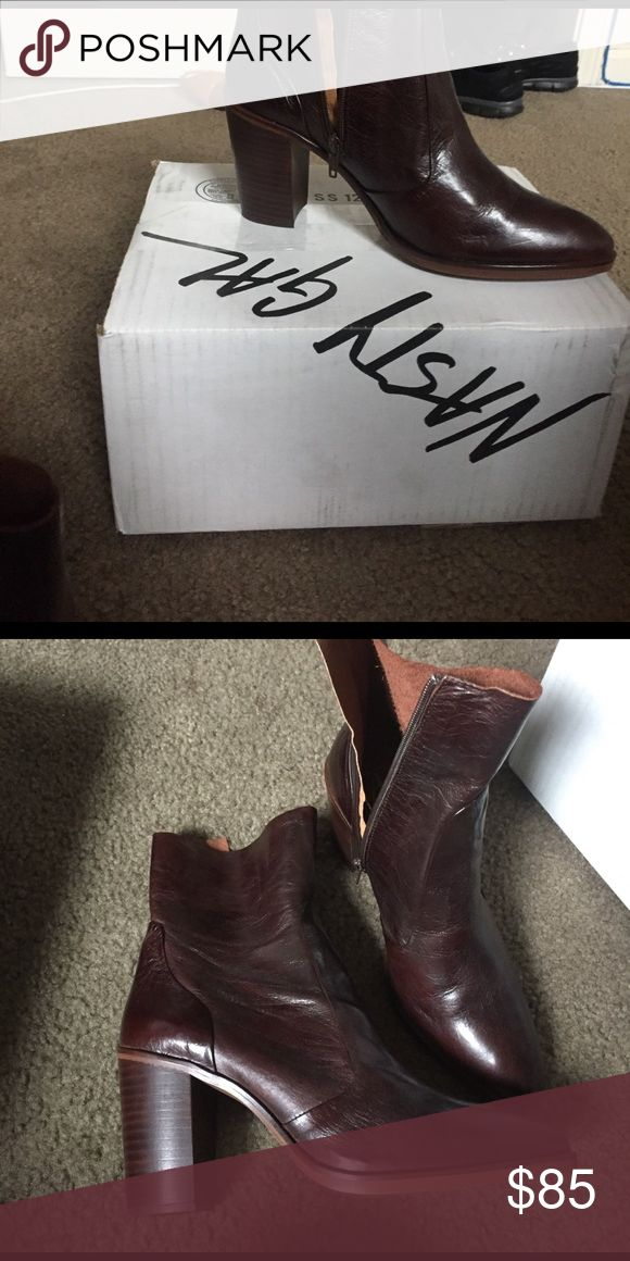 Crosswalk dark mahogany brown wooden heel booties Leather booties. Heel is 3-3 1/2. Never worn. Comes with original box and nasty gal box. Nasty Gal Shoes Ankle Boots & Booties