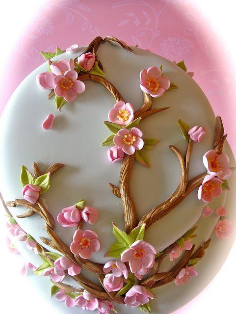 Cherry Blossom wedding cake by nice icing, via Flickr