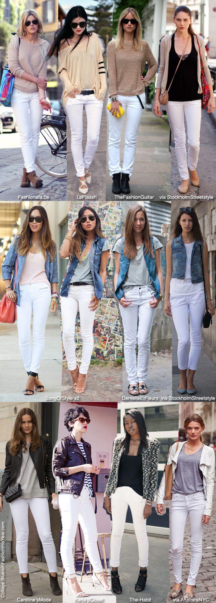 Come indossare dei jeans bianchi?con un top nude,con un gilet di jeans o con un mix di bianco,nero e grigio.