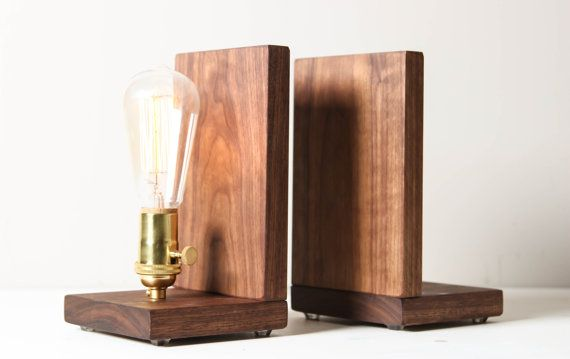 Signature Bookends- Modern Bookends, Wooden Gift, Lighting, Book Accessories, Solid Walnut, Edison Bulb Lamp
