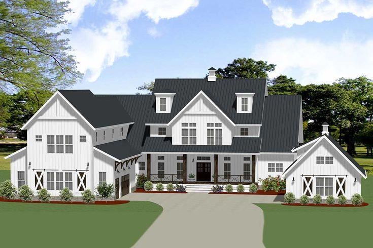 Plan 46395LA: Modern Farmhouse with Flexible Second-level Design and Detached Workshop