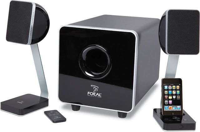 Focal XS 2.1 Multimedia Sound System is a PC speaker system with an iPod dock