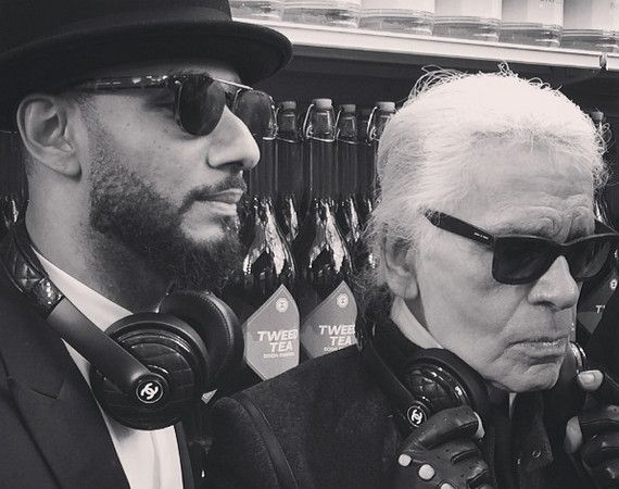 Swiss Beatz and Karl Lagerfeld with Chanel x Monster headphones