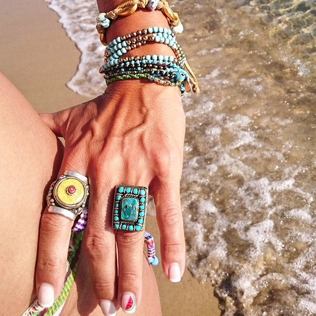 Frolic Stones...Bohemian look with tibetan rings and handmade boho bracelets