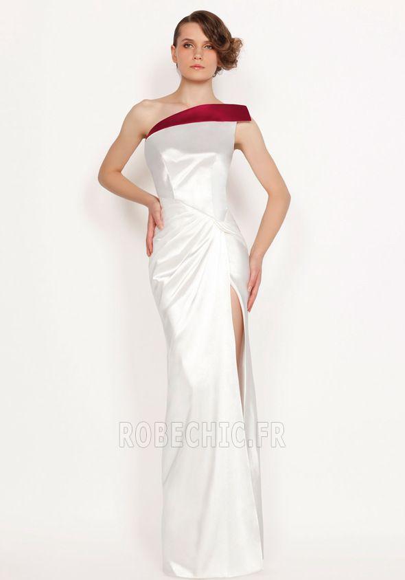 Robe de Soirée Longue Médium Fourreau Une épaule Satin Ouverture Frontale